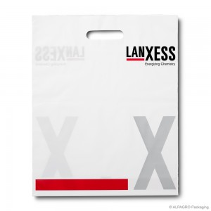 Patch handle carrier bag 'Lanxess', AlpaGreen LDPE, white coloured