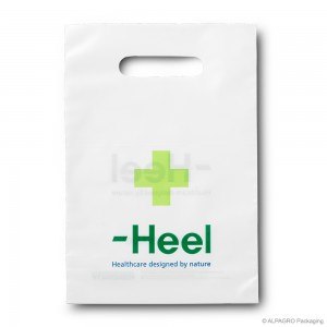 Grip hole carrier bag 'Heel', AlpaGreen MDPE, white coloured