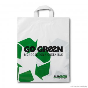 Loop handle carrier bag 'Go Green', AlpaGreen MDPE, white coloured