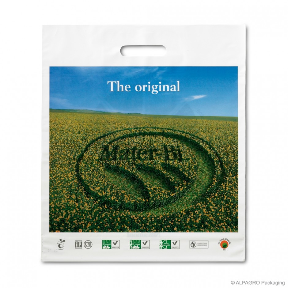 Patch handle carrier bag 'Mater-Bi', bioplastic, white coloured, 60µ, 39 x 45 + 5 cm