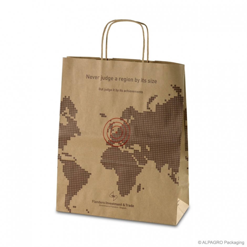 Paper carrier bag with twisted handles 'FIT', recycled paper, brown, 110 g, 30 x 13 x 36 cm