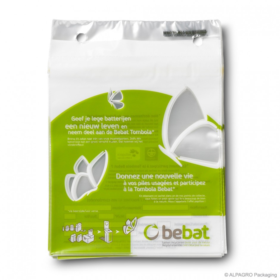 Blocked tear-off bags 'Bebat', LDPE, transparent, 40µ, 17 x 17 + 0 cm + 3,5 cm blocked border