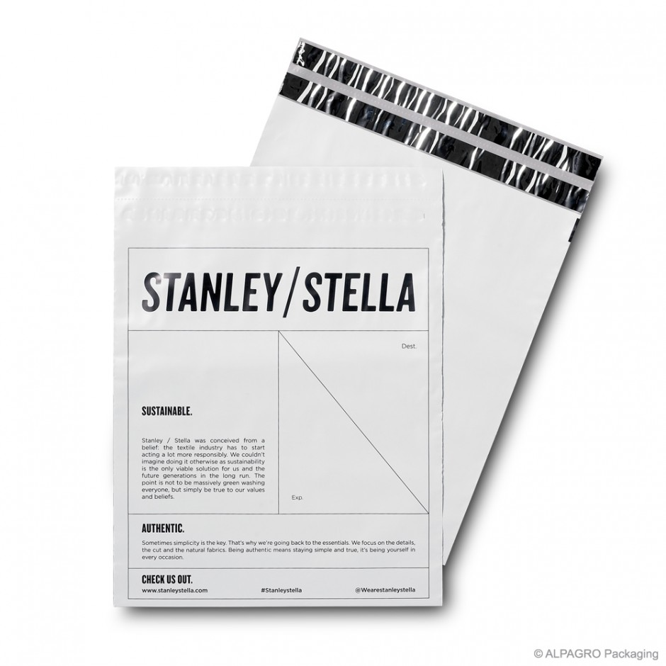 Mailing bag 'Stanley/Stella', COEX MDPE, white/grey, 80µ, 35 x 40 cm + 7 cm flap, finishing: 2 adhesive strips