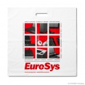 Patch handle carrier bag 'EuroSys', LDPE, white coloured, 50µ, 50 x 50 + 5 cm