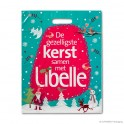 Patch handle carrier bag 'Libelle Christmas', LDPE, white coloured, 50µ, 35 x 45 + 0 cm