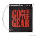 Rope handle carrier bag 'Go with the gear', LDPE, white coloured, 100µ, 41 x 49 + 5 cm