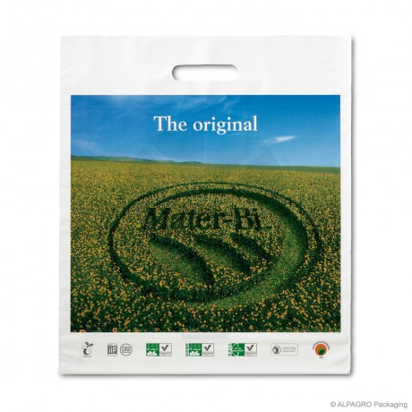 Bio patch handle carrier bags